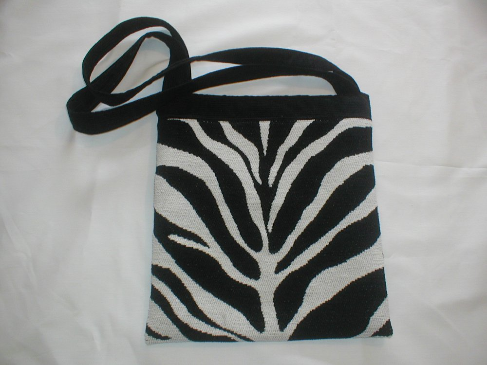 Zebra bag made by Tovey Mead of sewtovey Sussex Seamstress