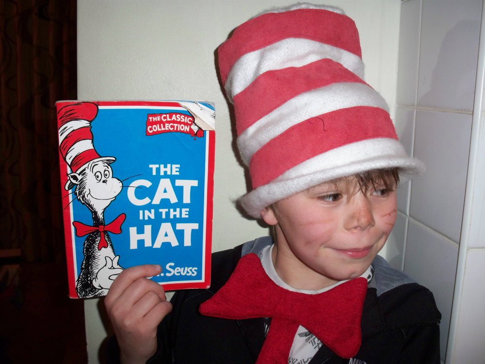 Cat in the hat, hat made by Tovey Mead of sewtovey