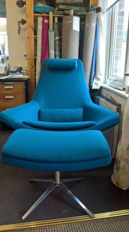 Chair blue made by Tovey Mead of sewtovey