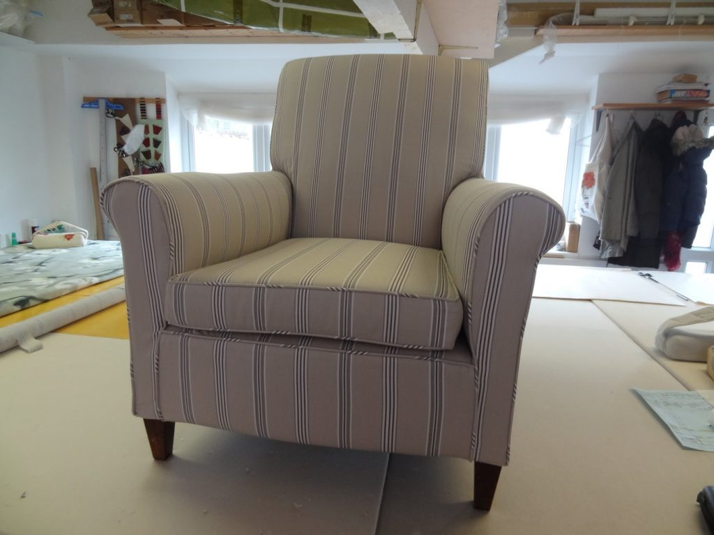 Chair covered by Tovey Mead of sewtovey Sussex Seamstress