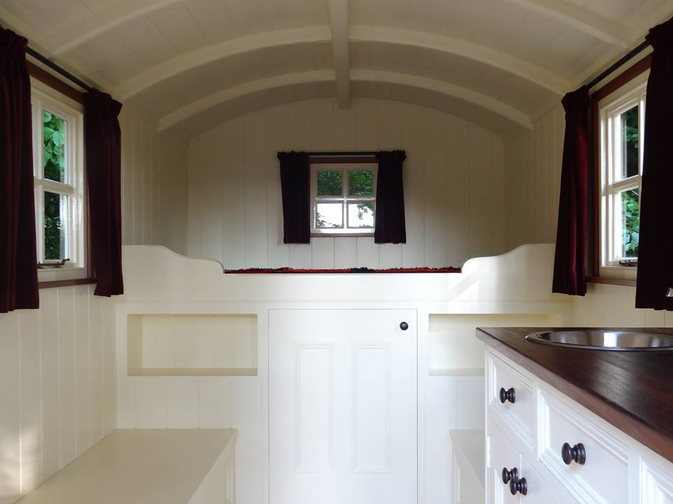 Shepherds hut curtains made by Tovey Mead of sewtovey Sussex Seamstress