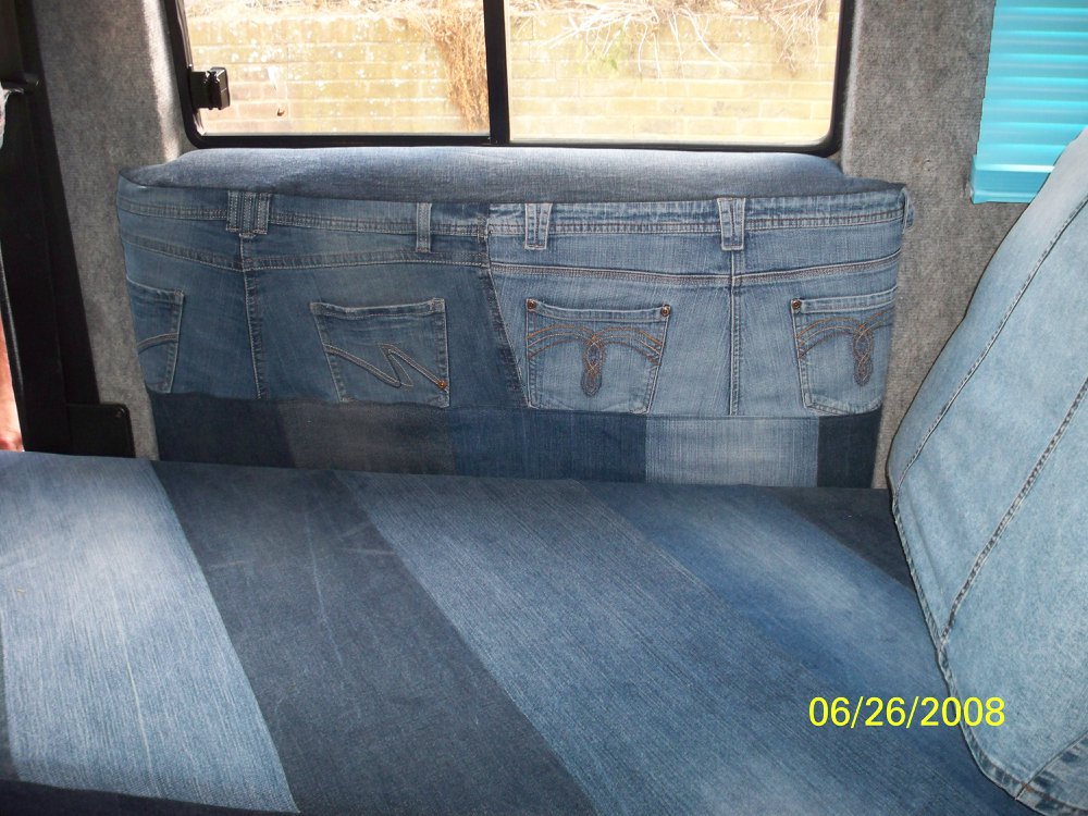 Storage pockets made from recycled jeans by Tovey Mead of sewtovey Sussex Seamstress