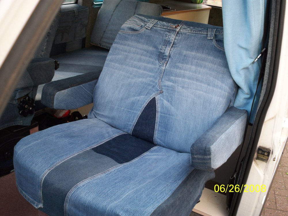 Van seat covers made from recycled jeans by Tovey Mead of sewtovey Sussex Seamstress
