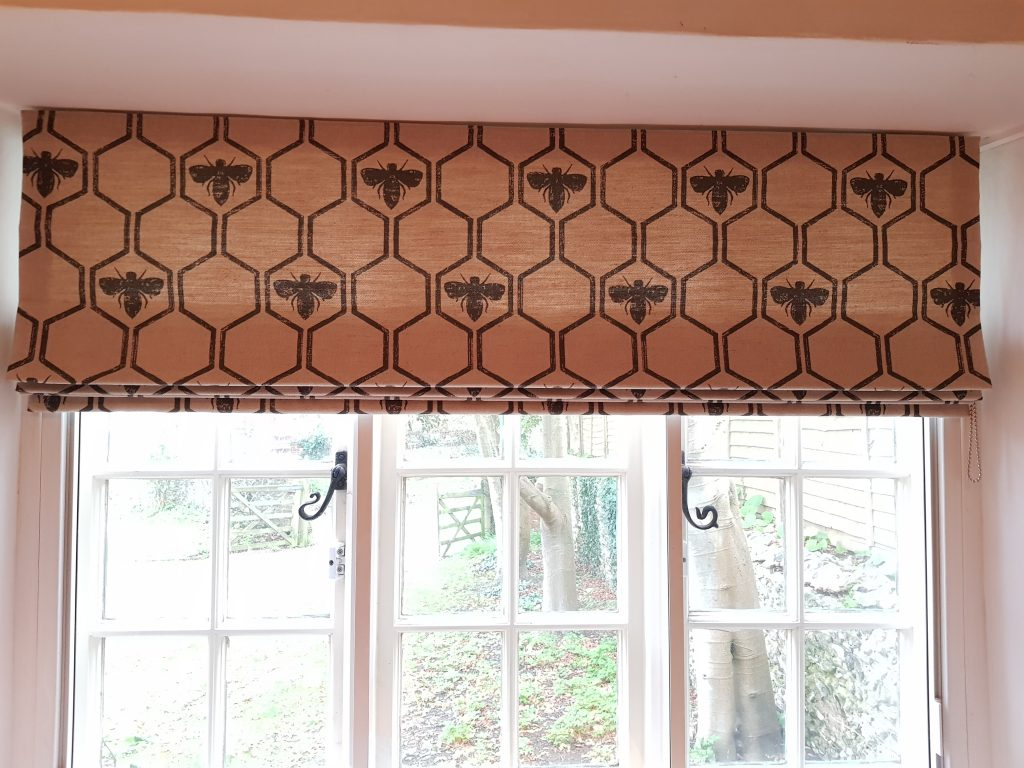 Bee patterned blind by Tovey Mead of SewTovey