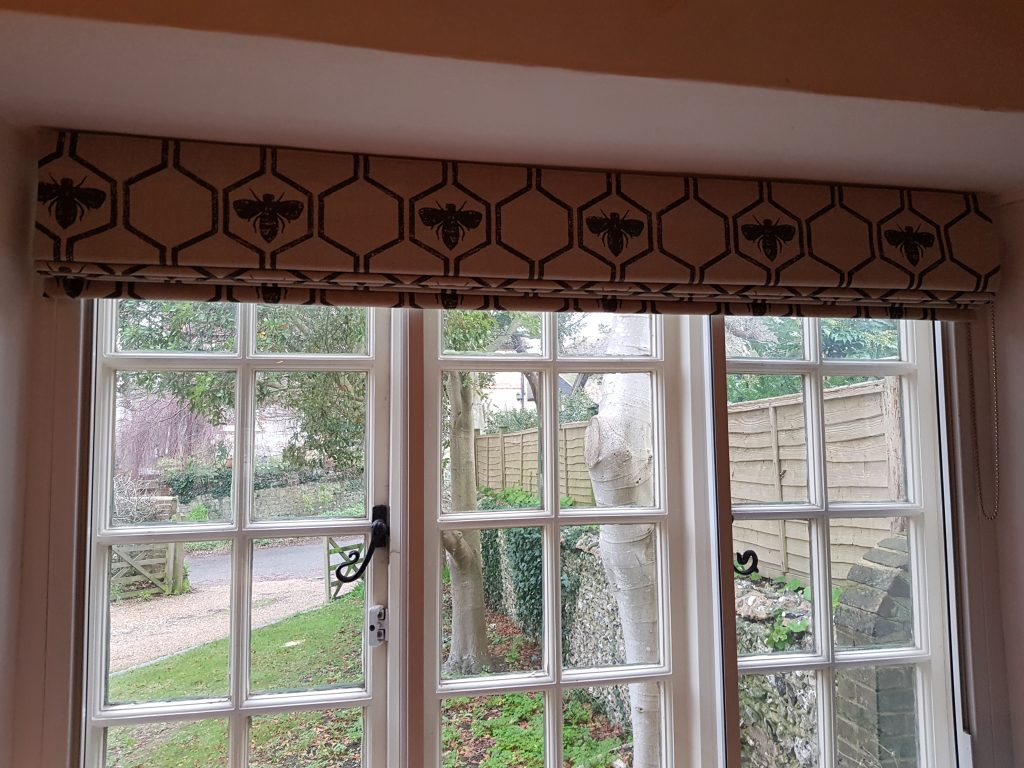 Bee patterned blind made by Tovey Mead of SewTovey