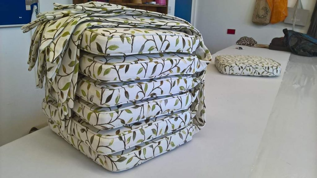 Seat cushions and covers with ties by Tovey Mead of SewTovey